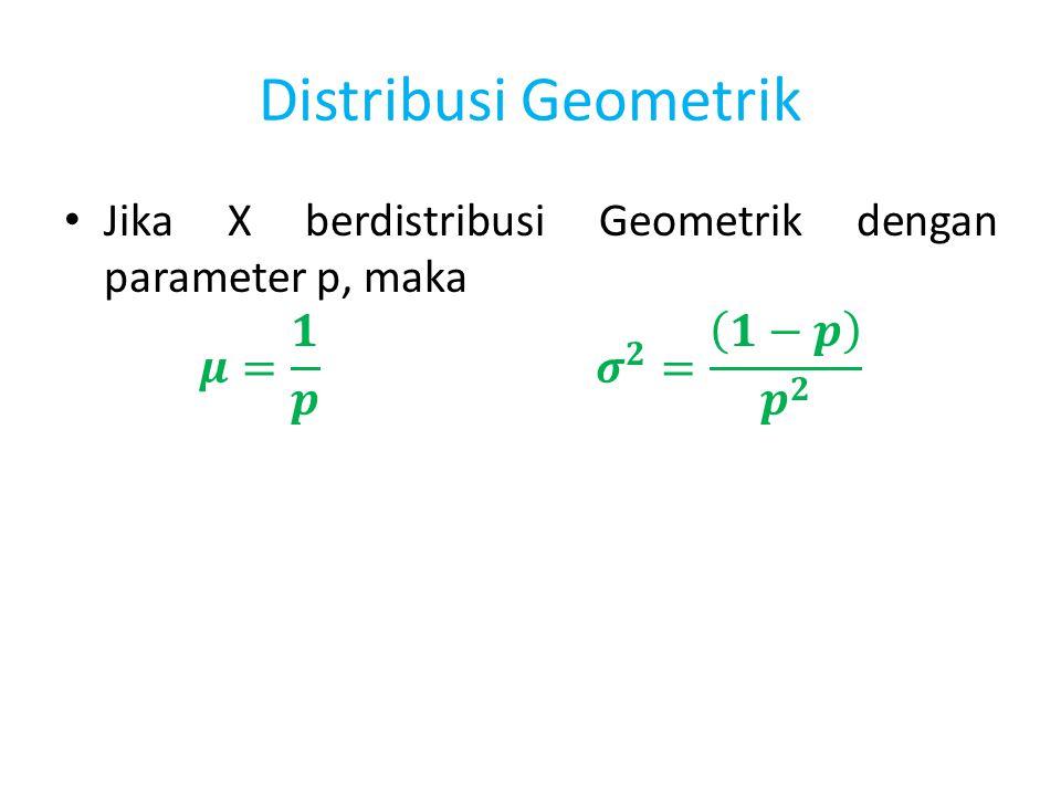 Distribusi Geometrik Jika X berdistribusi Geometrik dengan parameter p, maka.