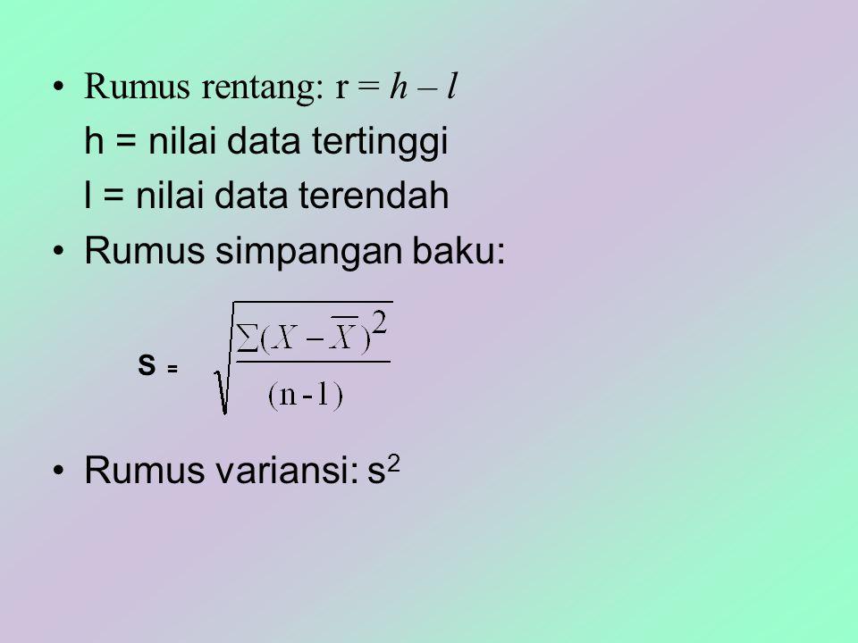 h = nilai data tertinggi l = nilai data terendah Rumus simpangan baku: