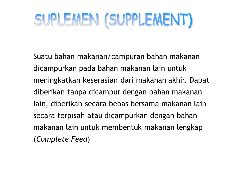 SUPLEMEN (SUPPLEMENT)