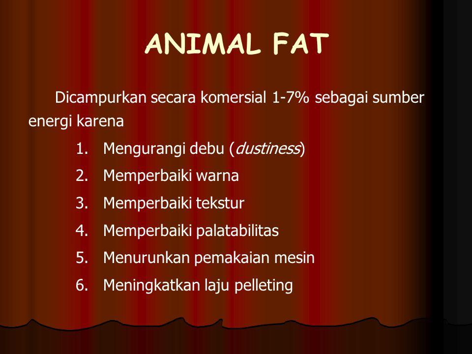 ANIMAL FAT Dicampurkan secara komersial 1-7% sebagai sumber energi karena. Mengurangi debu (dustiness)