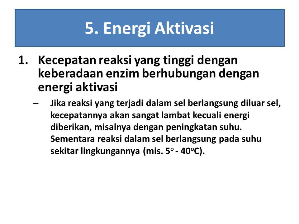 5. Energi Aktivasi Kecepatan reaksi yang tinggi dengan keberadaan enzim berhubungan dengan energi aktivasi.