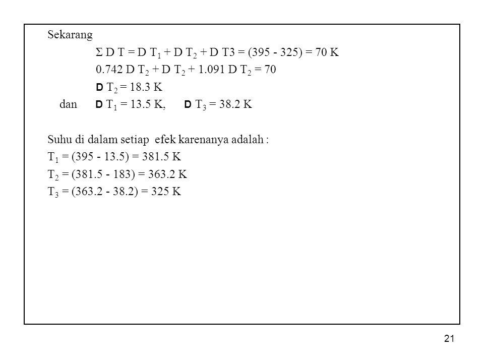 Sekarang Σ D T = D T1 + D T2 + D T3 = (395 - 325) = 70 K. 0.742 D T2 + D T2 + 1.091 D T2 = 70. D T2 = 18.3 K.
