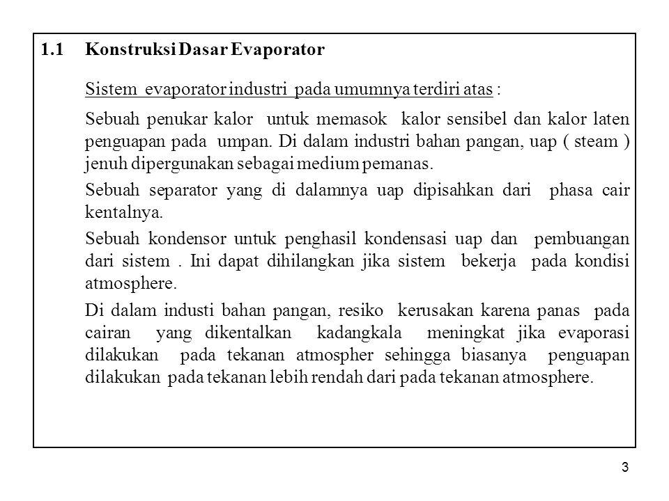 Sistem evaporator industri pada umumnya terdiri atas :