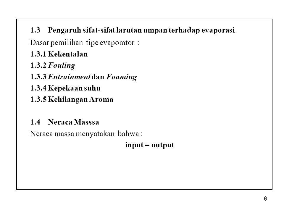 1.3 Pengaruh sifat-sifat larutan umpan terhadap evaporasi