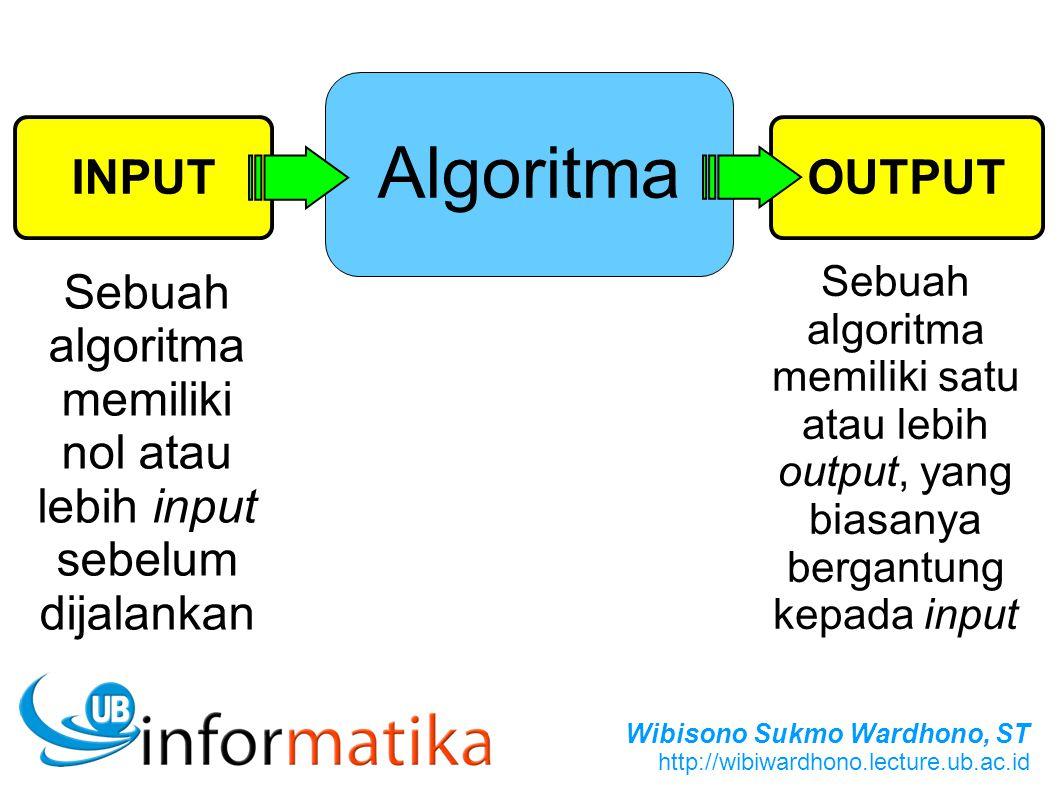 Sebuah algoritma memiliki nol atau lebih input sebelum dijalankan