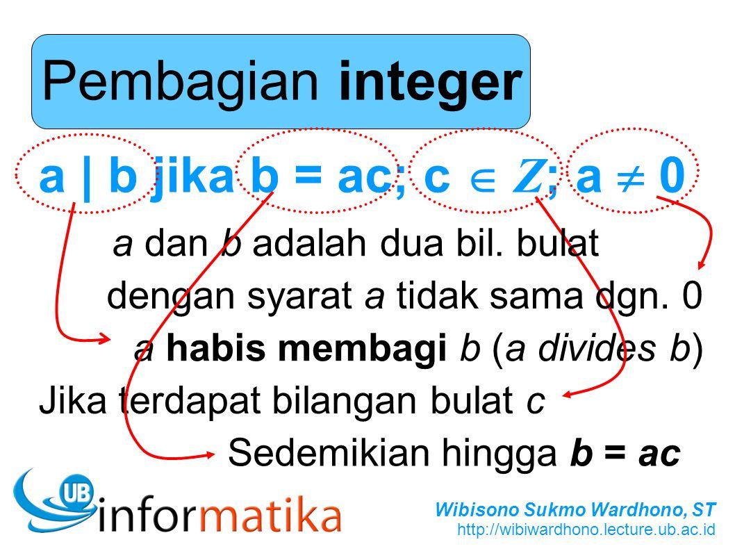 Pembagian integer a | b jika b = ac; c  Z; a  0
