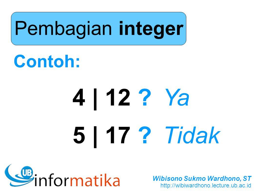 Pembagian integer Contoh: 4 | 12 Ya 5 | 17 Tidak