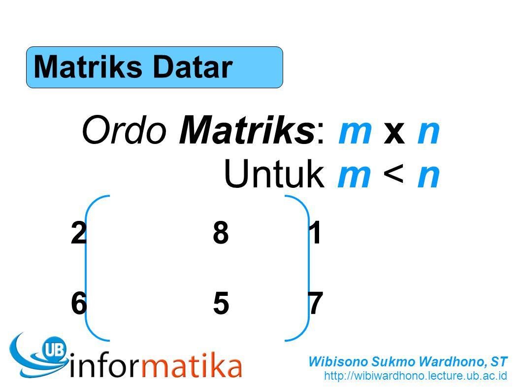Matriks Datar Ordo Matriks: m x n Untuk m < n 2 8 1 6 5 7