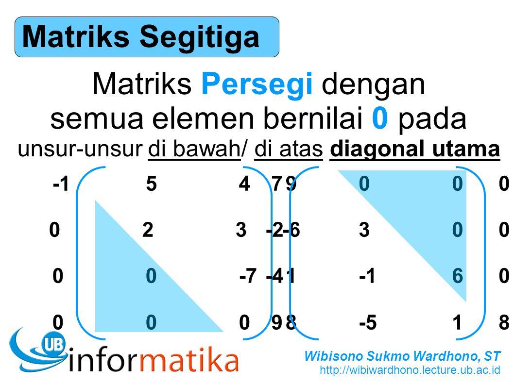 Matriks Persegi dengan semua elemen bernilai 0 pada