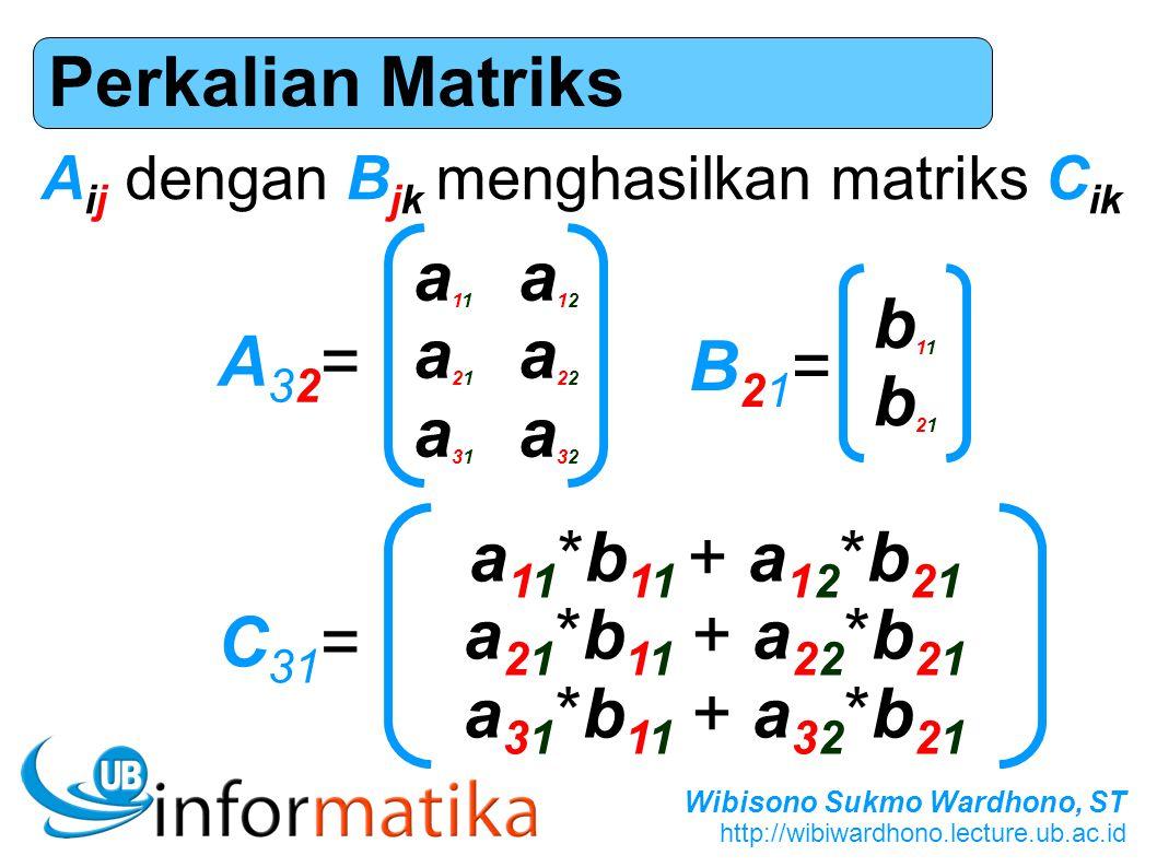 Perkalian Matriks a11 a12 a21 a22 b11 a31 a32 b21 A32= B21=