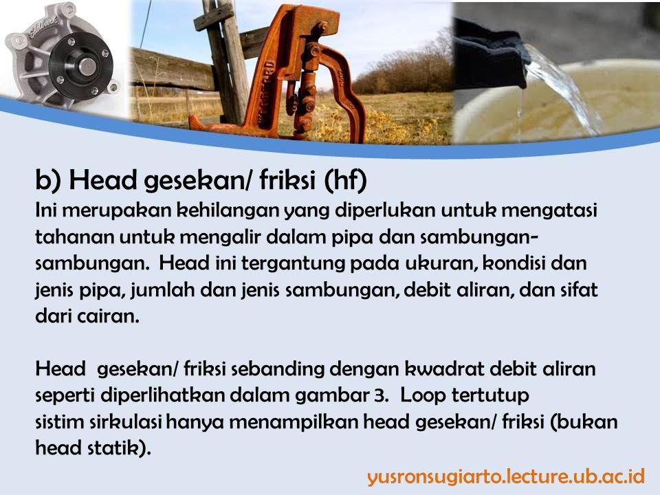 b) Head gesekan/ friksi (hf)