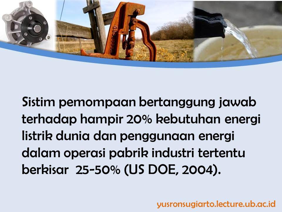 Sistim pemompaan bertanggung jawab terhadap hampir 20% kebutuhan energi listrik dunia dan penggunaan energi dalam operasi pabrik industri tertentu berkisar 25-50% (US DOE, 2004).