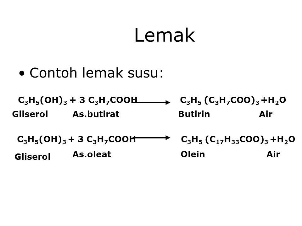 Lemak Contoh lemak susu: C3H5(OH)3 + 3 C3H7COOH C3H5 (C3H7COO)3 +H2O