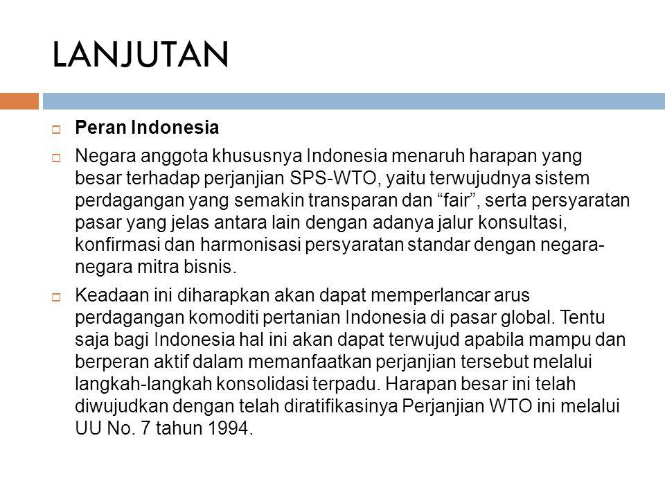 LANJUTAN Peran Indonesia