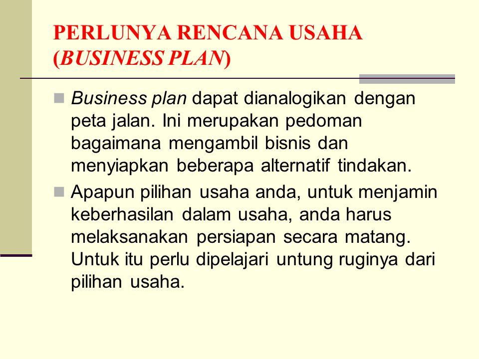 PERLUNYA RENCANA USAHA (BUSINESS PLAN)