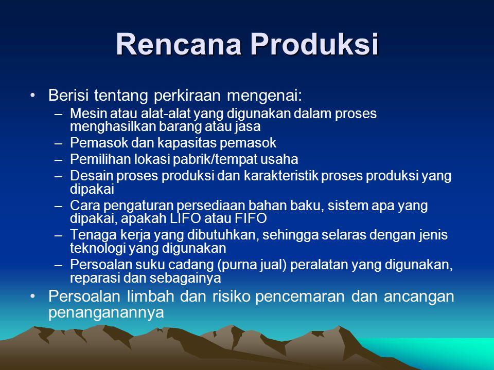 Rencana Produksi Berisi tentang perkiraan mengenai: