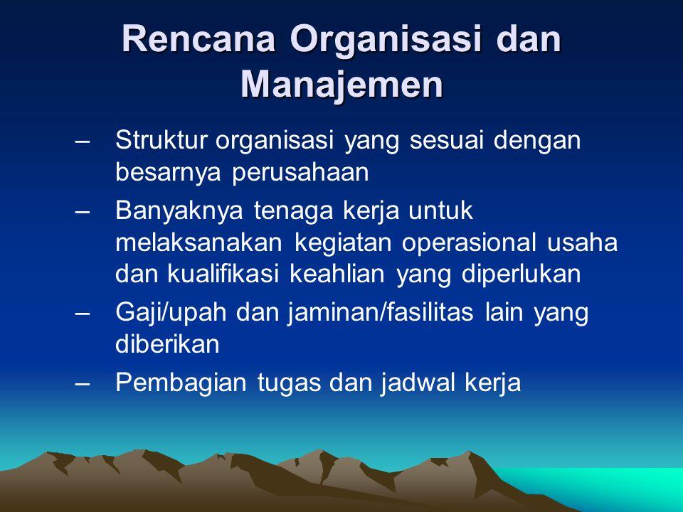 Rencana Organisasi dan Manajemen