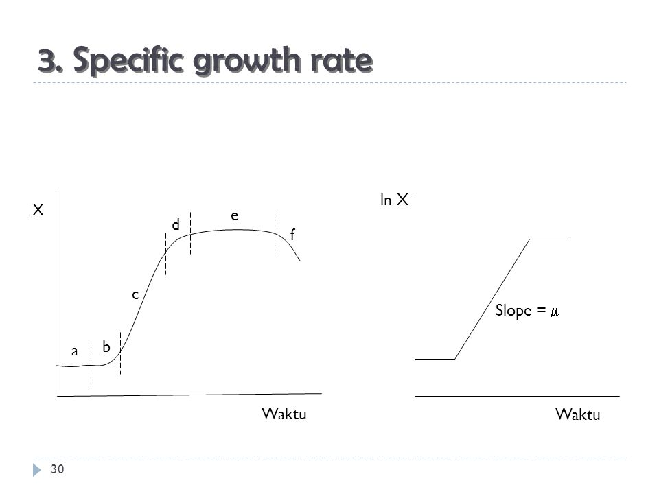 3. Specific growth rate ln X Waktu Slope =  X Waktu a b c d e f