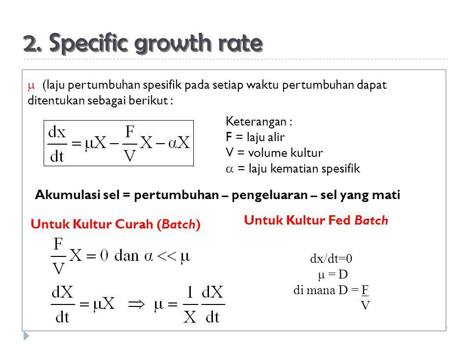 2. Specific growth rate  (laju pertumbuhan spesifik pada setiap waktu pertumbuhan dapat ditentukan sebagai berikut :