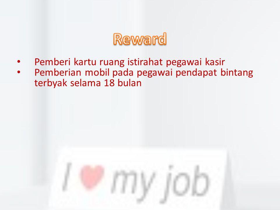 Reward Pemberi kartu ruang istirahat pegawai kasir