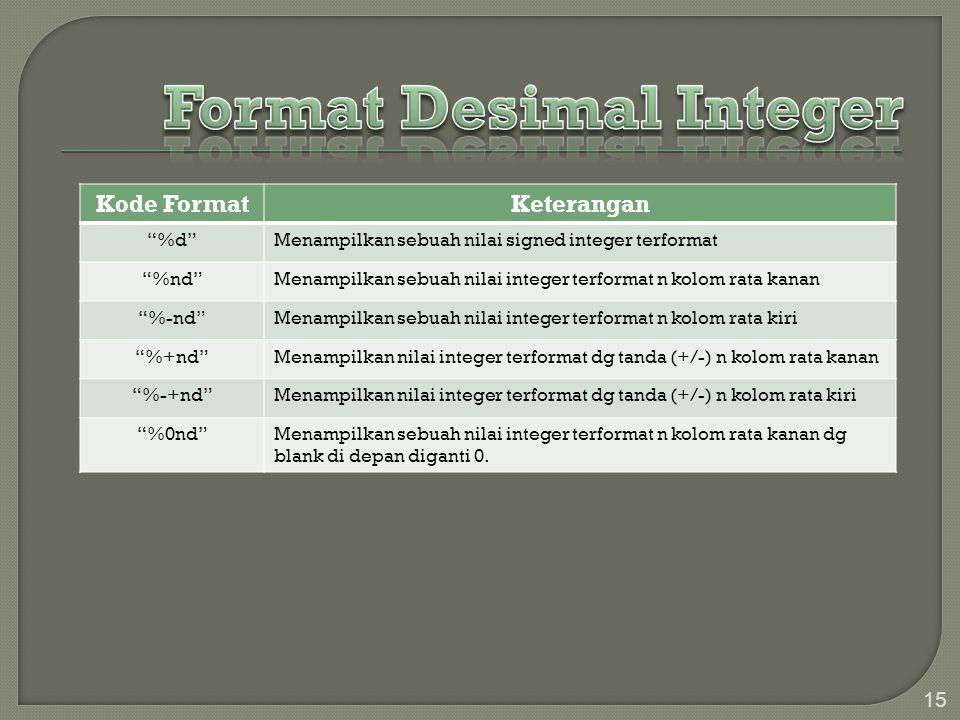 Format Desimal Integer