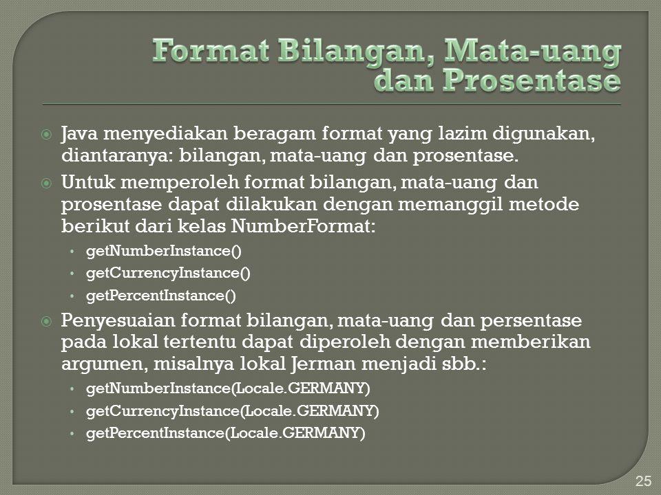 Format Bilangan, Mata-uang dan Prosentase