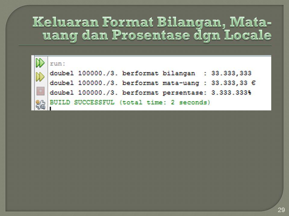 Keluaran Format Bilangan, Mata-uang dan Prosentase dgn Locale