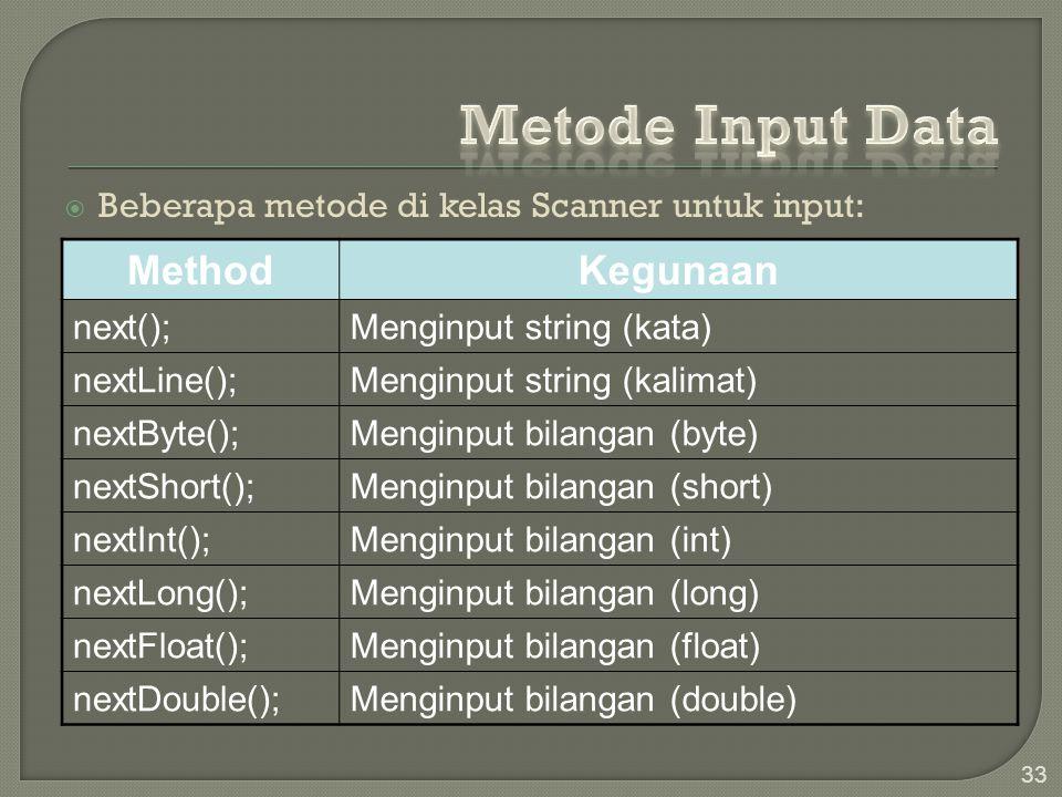 Metode Input Data Method Kegunaan