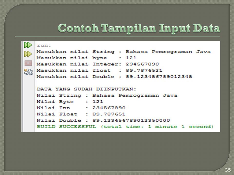 Contoh Tampilan Input Data