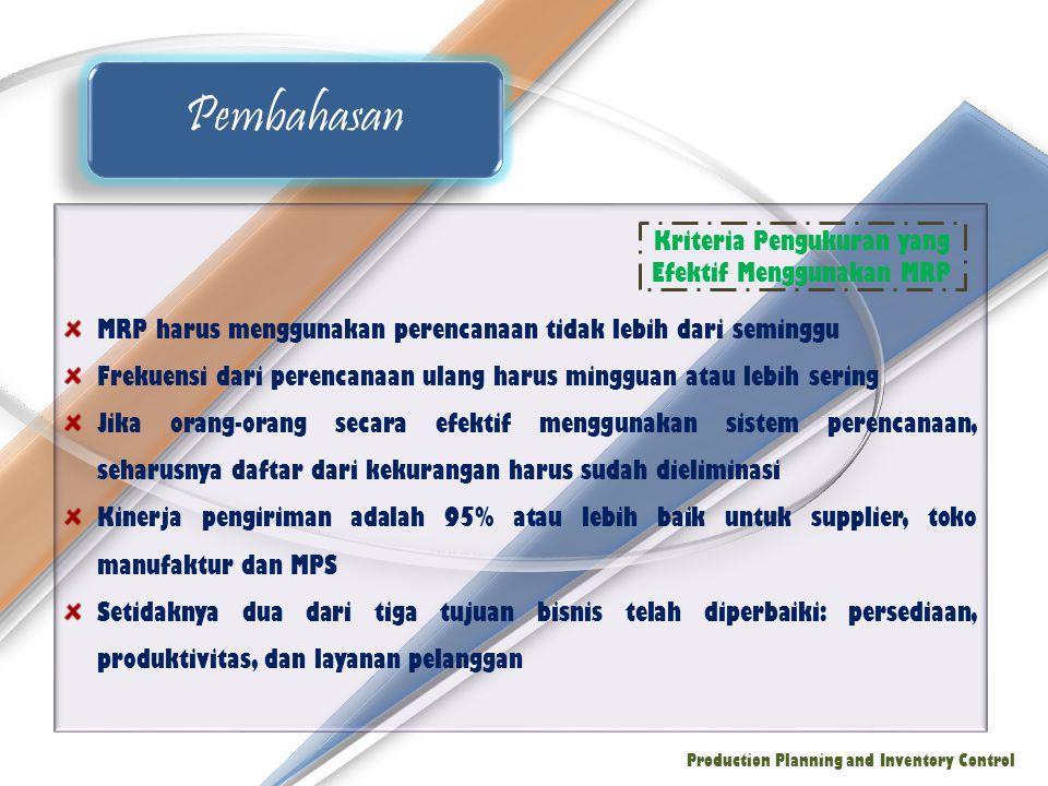 Kriteria Pengukuran yang Efektif Menggunakan MRP