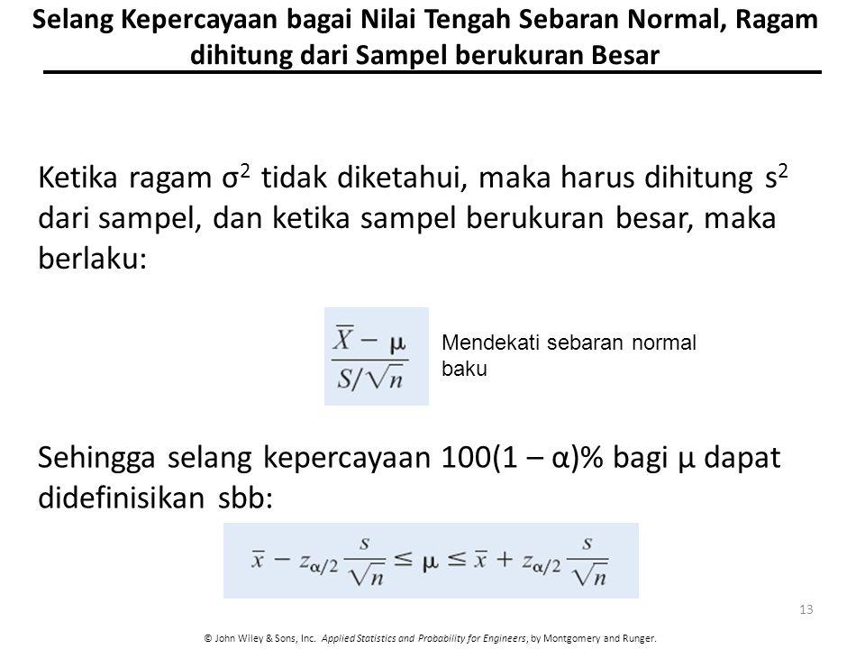 Selang Kepercayaan bagai Nilai Tengah Sebaran Normal, Ragam dihitung dari Sampel berukuran Besar