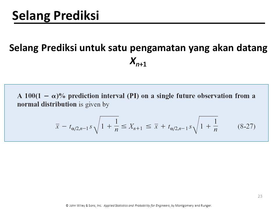 Selang Prediksi untuk satu pengamatan yang akan datang Xn+1