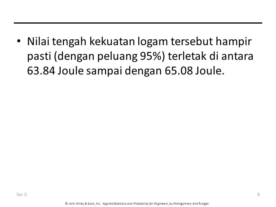 Nilai tengah kekuatan logam tersebut hampir pasti (dengan peluang 95%) terletak di antara 63.84 Joule sampai dengan 65.08 Joule.