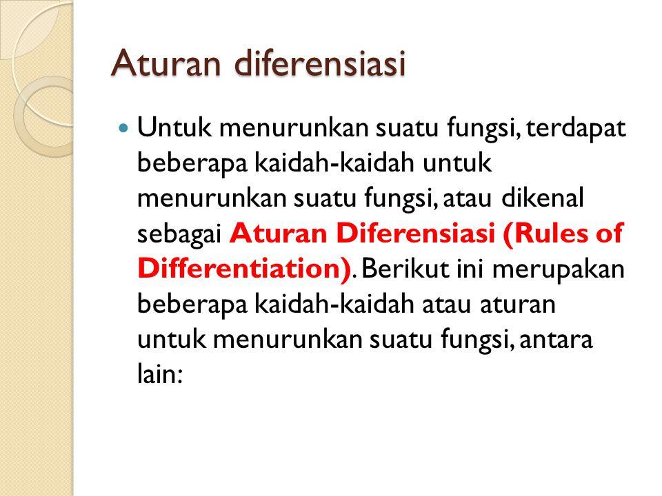 Aturan diferensiasi