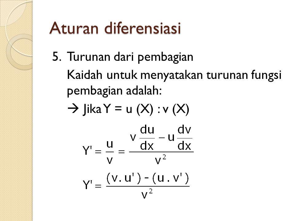 Aturan diferensiasi 5.