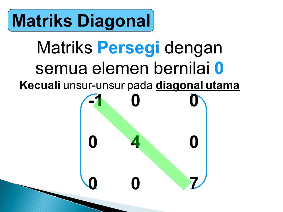 Matriks Persegi dengan semua elemen bernilai 0