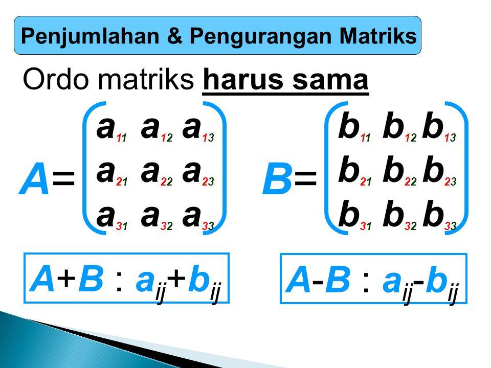 Penjumlahan & Pengurangan Matriks