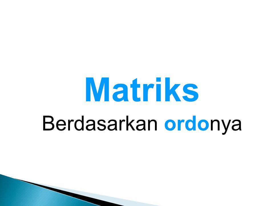 Matriks Berdasarkan ordonya