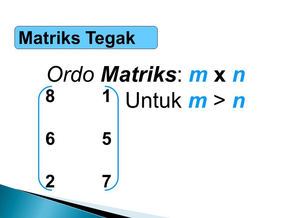 Matriks Tegak Ordo Matriks: m x n Untuk m > n 8 1 6 5 2 7