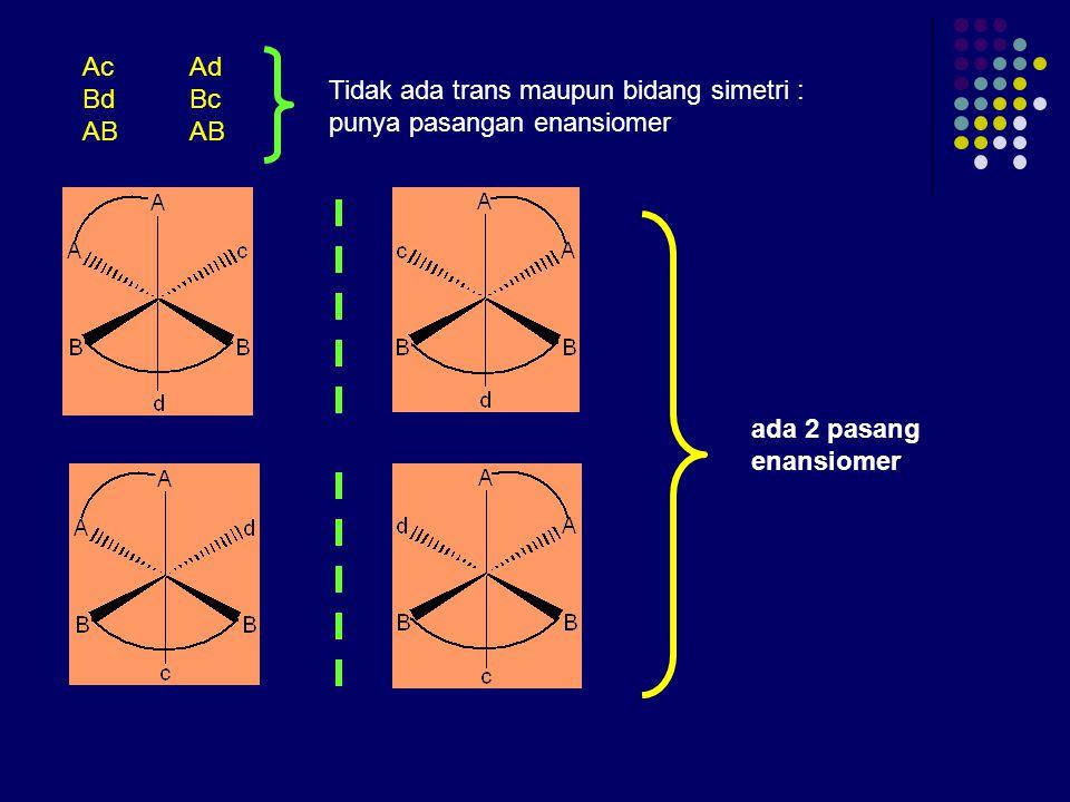 Ac Ad Bd Bc. AB AB. Tidak ada trans maupun bidang simetri : punya pasangan enansiomer.