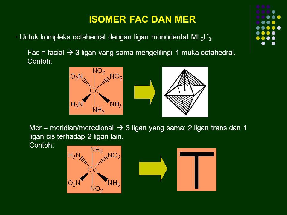 ISOMER FAC DAN MER Untuk kompleks octahedral dengan ligan monodentat ML3L'3. Fac = facial  3 ligan yang sama mengelilingi 1 muka octahedral.
