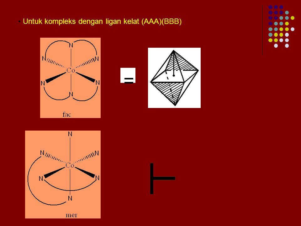 Untuk kompleks dengan ligan kelat (AAA)(BBB)