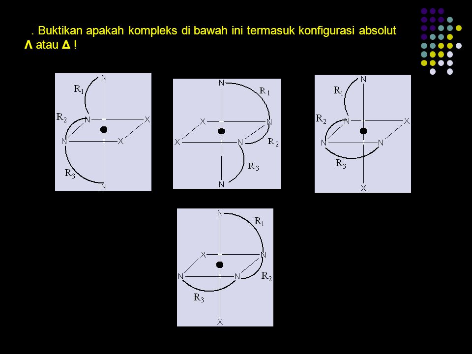 3. Buktikan apakah kompleks di bawah ini termasuk konfigurasi absolut Λ atau Δ !