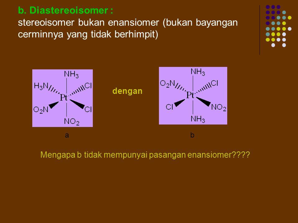 b. Diastereoisomer : stereoisomer bukan enansiomer (bukan bayangan cerminnya yang tidak berhimpit) dengan.