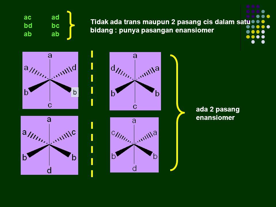 ac ad bd bc. ab ab. Tidak ada trans maupun 2 pasang cis dalam satu bidang : punya pasangan enansiomer.