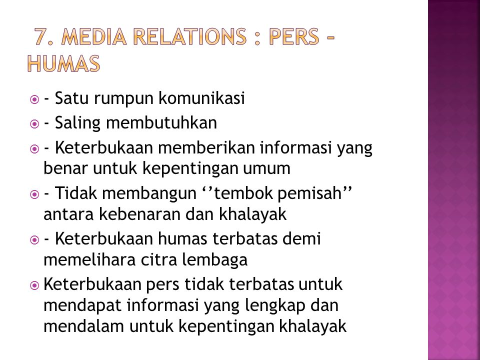 7. Media Relations : Pers – Humas