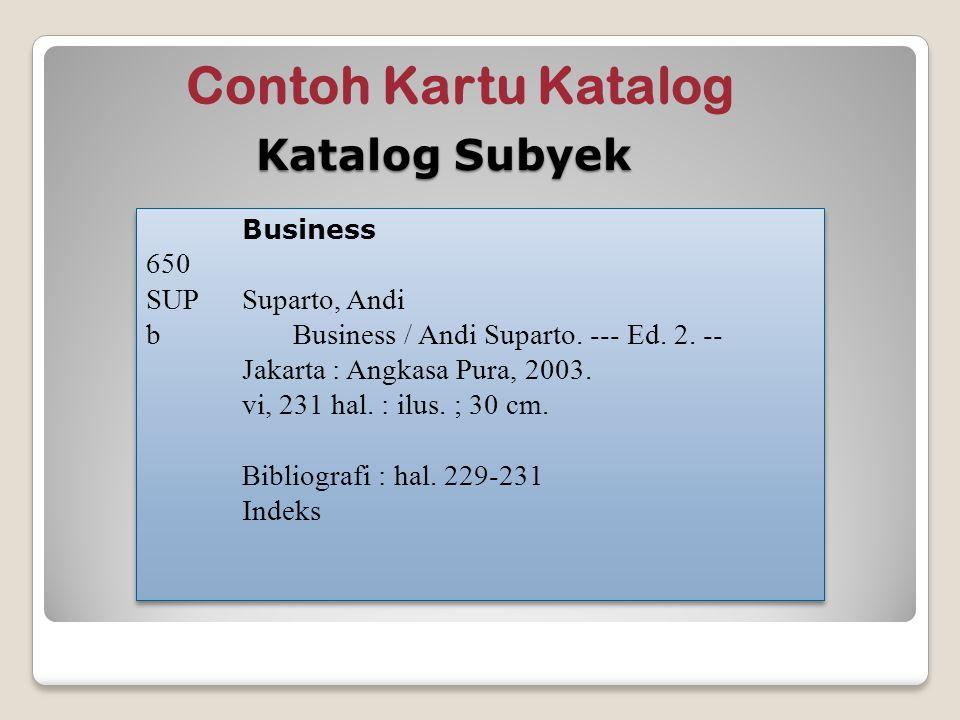 Contoh Kartu Katalog Katalog Subyek 650 SUP Suparto, Andi