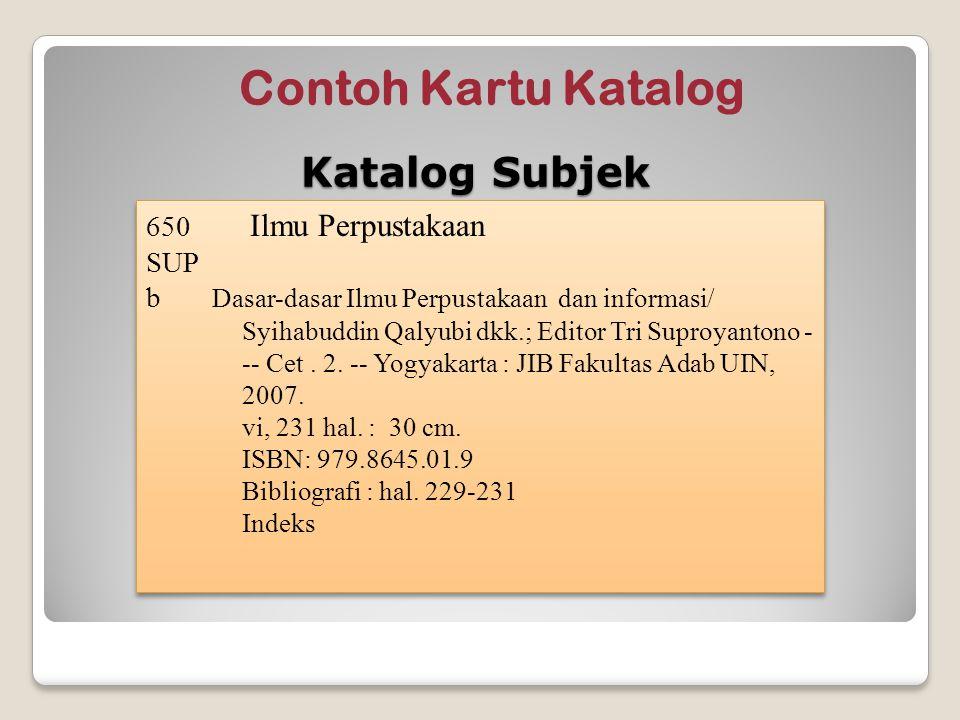 Contoh Kartu Katalog Katalog Subjek 650 Ilmu Perpustakaan SUP