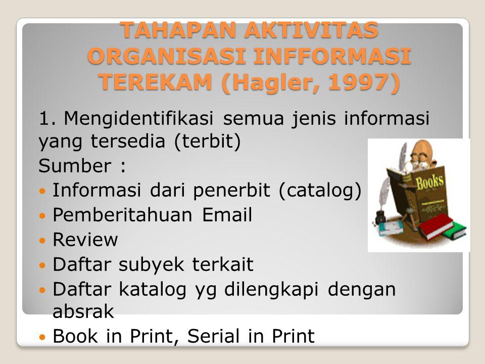 TAHAPAN AKTIVITAS ORGANISASI INFFORMASI TEREKAM (Hagler, 1997)