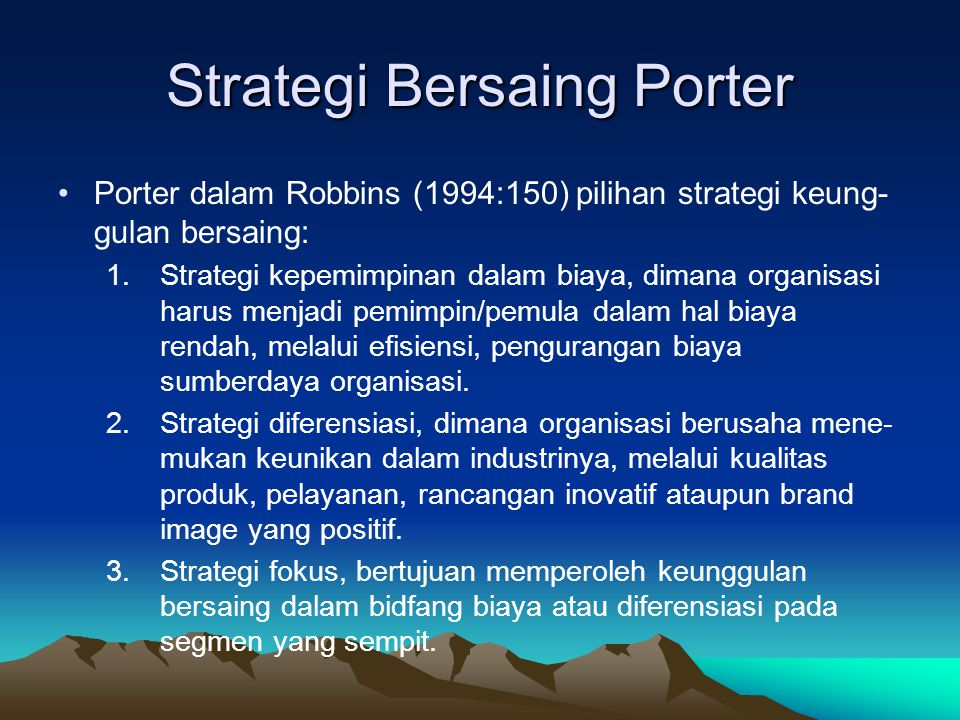 Strategi Bersaing Porter